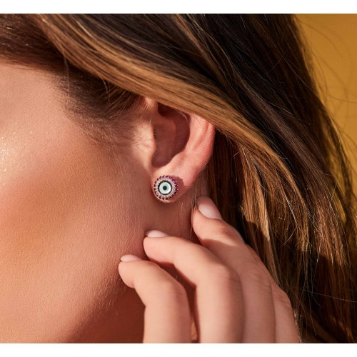 Brinco de ouro branco olho grego com diamantes e rubis