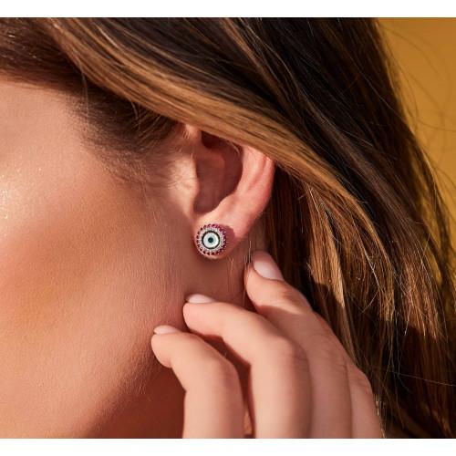 Brinco de ouro branco olho grego com diamantes e esmeraldas