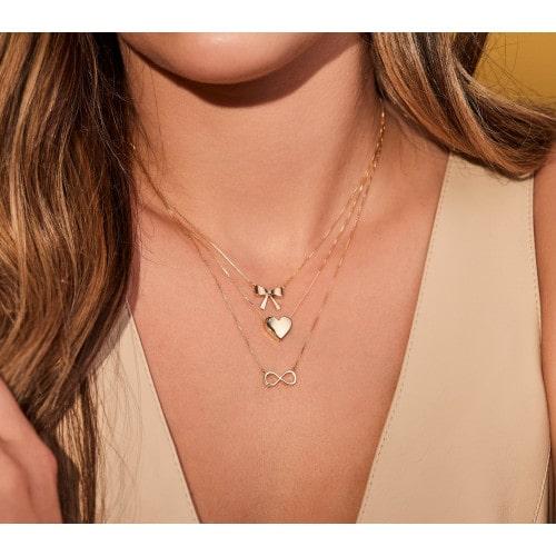 Gargantilha símbolo infinito ouro 18k com diamante