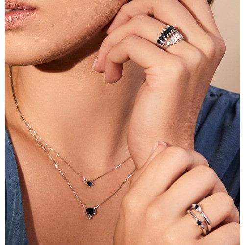 Gargantilha de ouro 18k safira diamantes