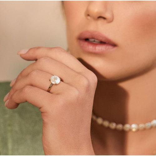 Anel de ouro Mirah com Madrepérola e Diamante
