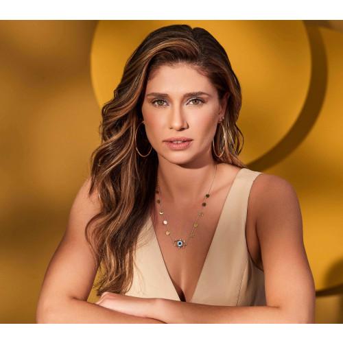 Gargantilha de ouro 18k olho grego e diamantes com confetes