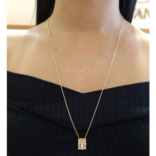 Escapulário Nossa Senhora Aparecida de ouro 18k com diamantes