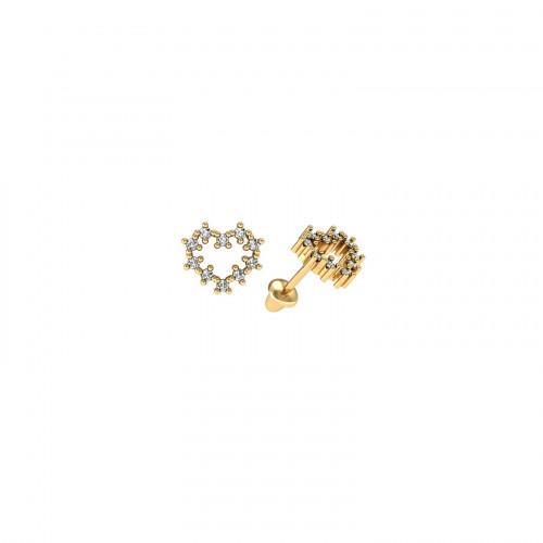 Brinco infantil de ouro amarelo 18k coração com Diamantes
