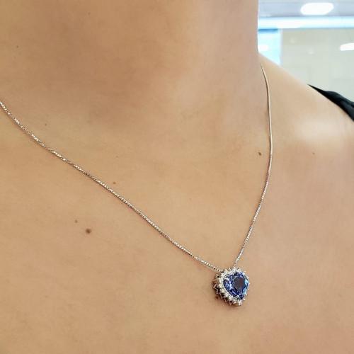 Gargantilha de ouro 18k tanzanita diamantes