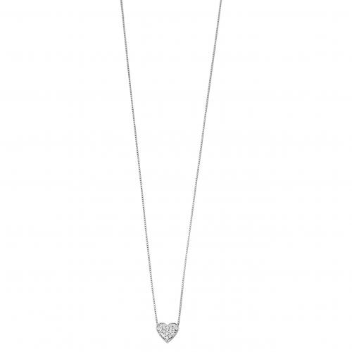 Gargantilha de ouro 18k branco coração pavê com diamantes