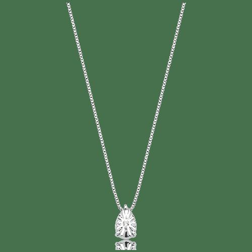 Gargantilha ouro branco 18k gota com diamante