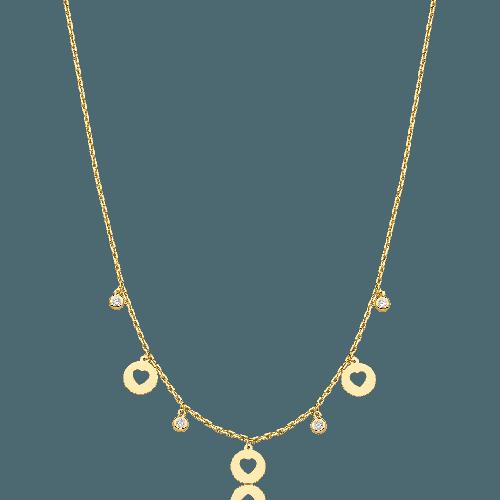 Gargantilha choker de ouro 18k pingentes de coração com diamantes