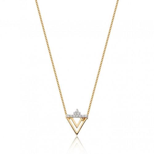 Gargantilha de ouro 18k triângulo vazado com brilhantes