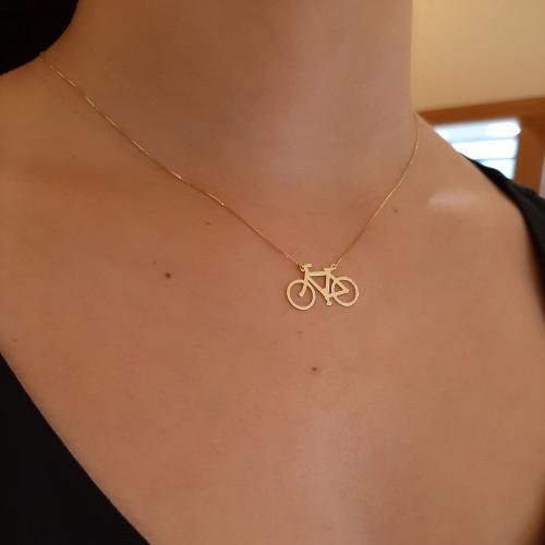 Gargantilha de ouro 18k bibicleta – ciclismo
