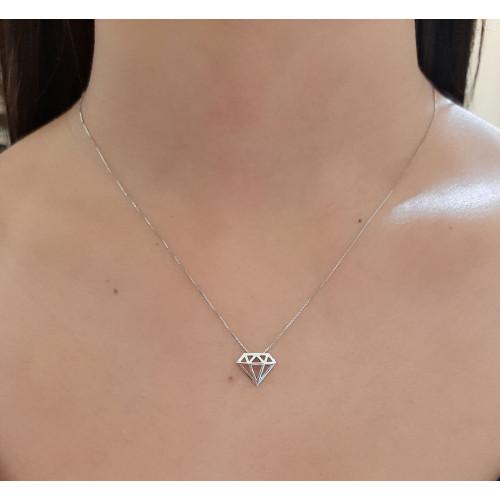 Gargantilha de ouro branco 18k diamante