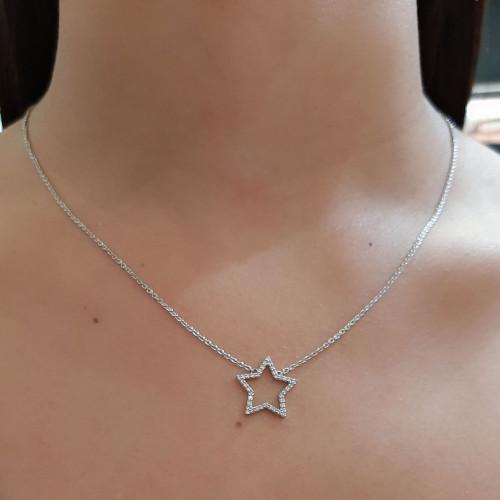 Gargantilha de ouro branco estrela com brilhantes