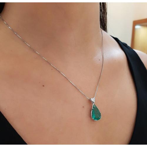 Gargantilha de ouro 18k gota esmeralda e diamante