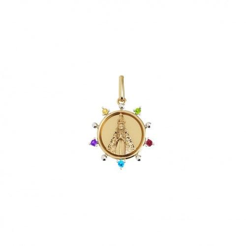 Pingente de ouro Nossa Senhora com pedras coloridas