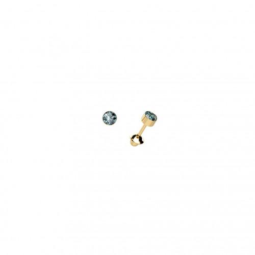 Brinco infantil de ouro amarelo 18k com Topázio azul