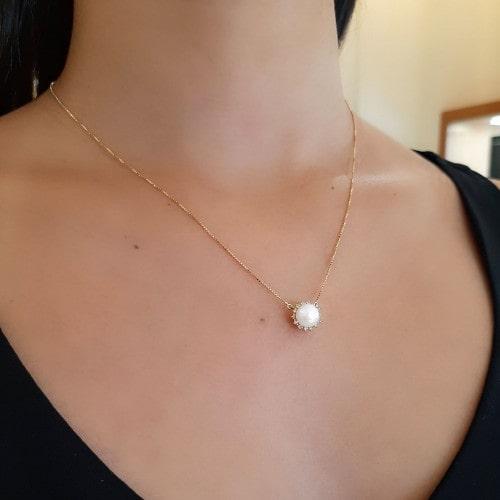 Gargantilha de ouro 18k pérola diamante