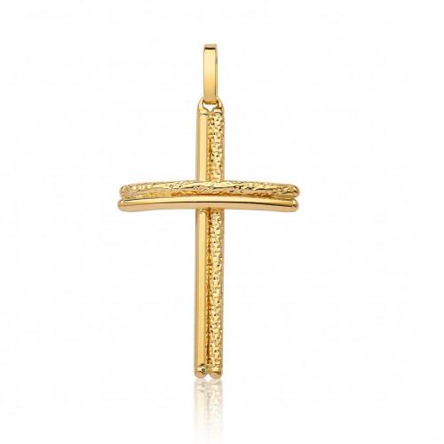 Pingente de ouro 18k cruz dupla