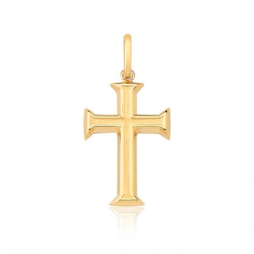 Pingente de ouro 18k crucifixo com detalhe fosco