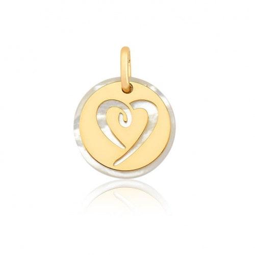 Pingente de ouro 18k madre pérola coração