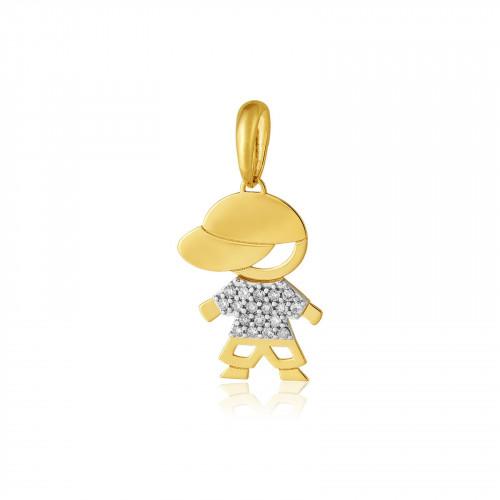 Pingente de ouro amarelo 18k menino com Diamantes de 0,5 pontos