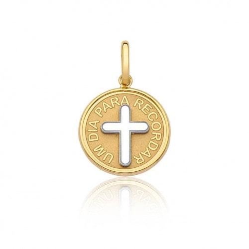Pingente de ouro 18k medalha batismo - um dia para recordar