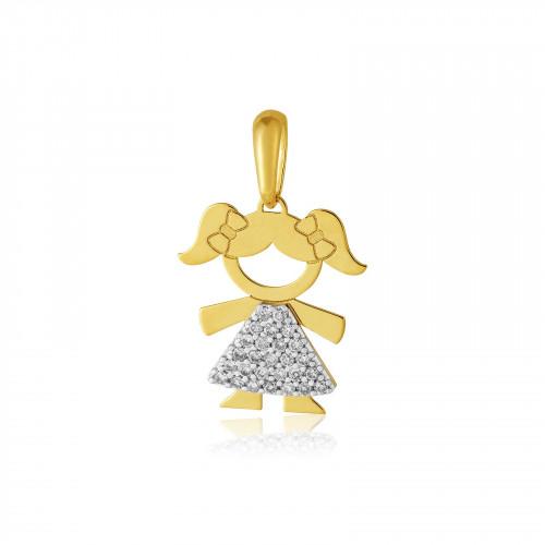Pingente de ouro amarelo 18k menina com Diamantes de 0,5 pontos