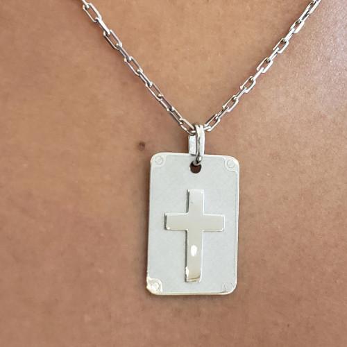 Pingente placa com cruz ouro branco
