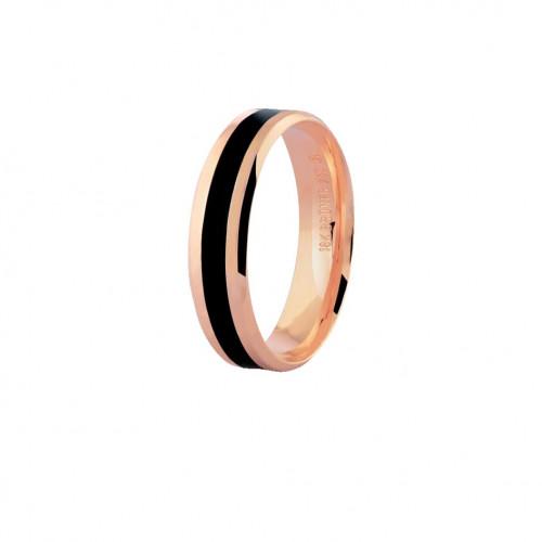 Aliança de ouro rosê 18k com friso preto (5mm)