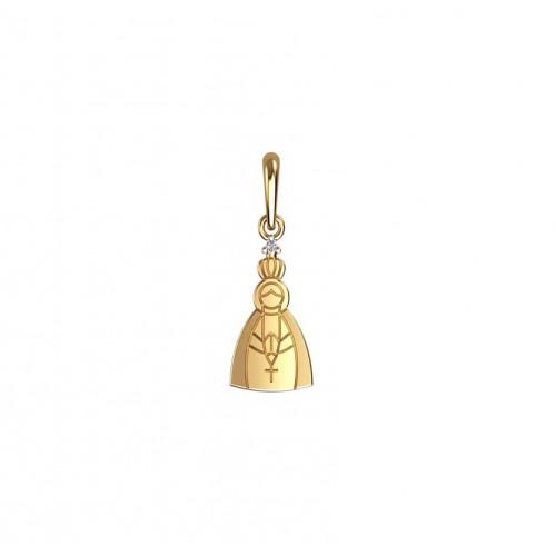 Pingente de ouro Nossa Senhora Aparecida diamante 0.005ct