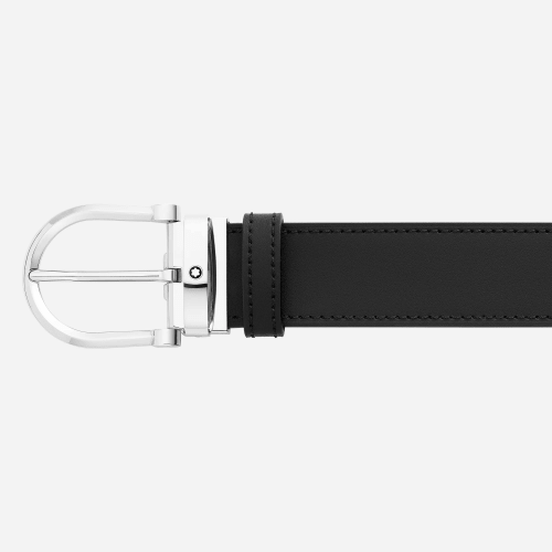 Cinto Montblanc de couro preto e marrom - 35mm