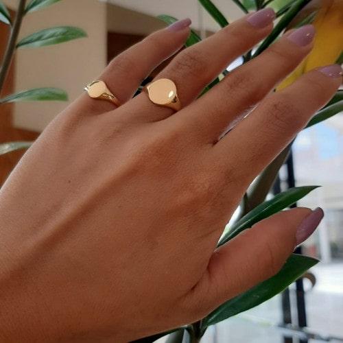 Anel chancela de ouro 18k oval - M