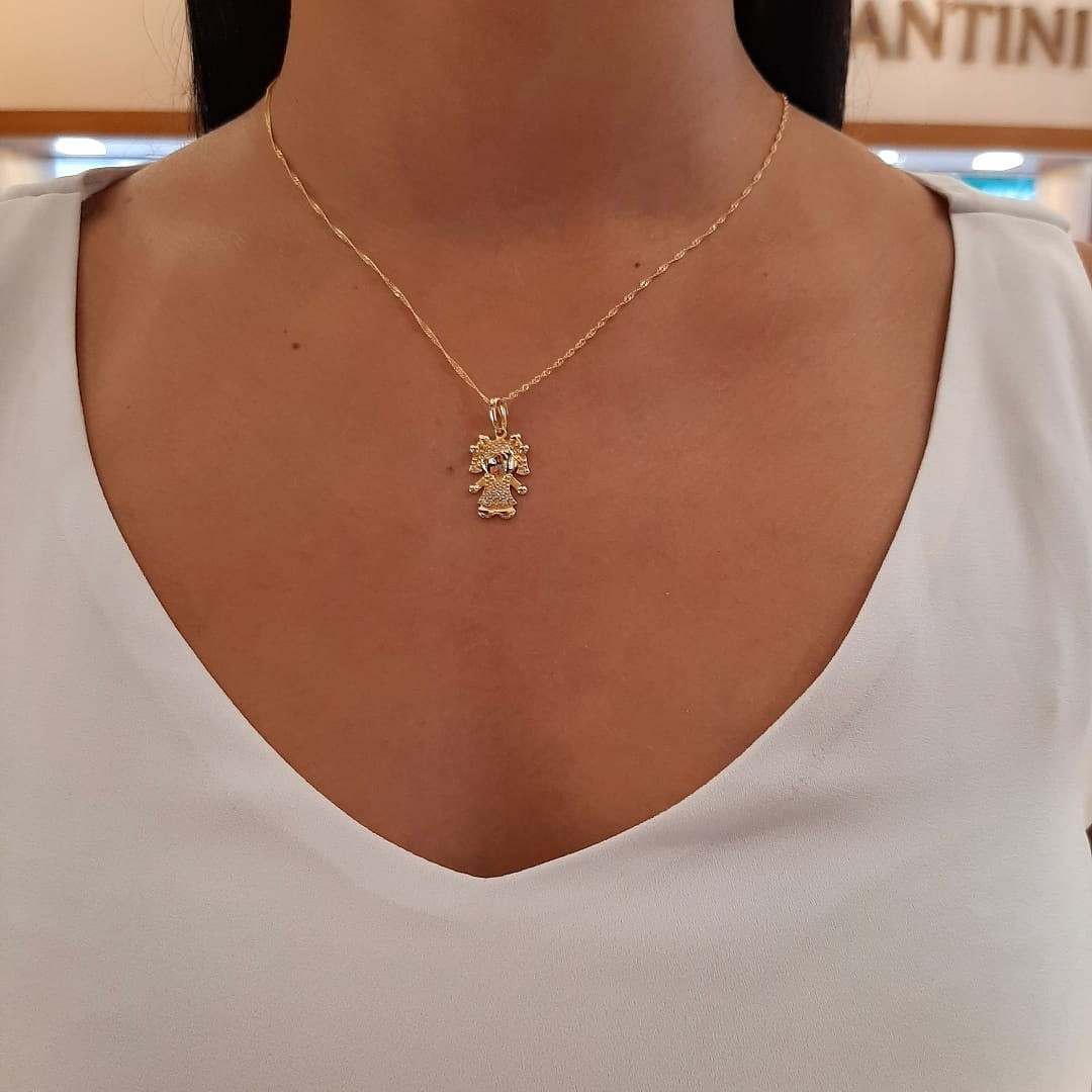 Pingente de ouro 18k menina filha com brilhantes