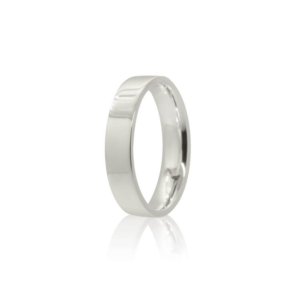 Aliança prata 925 reta polida 4mm