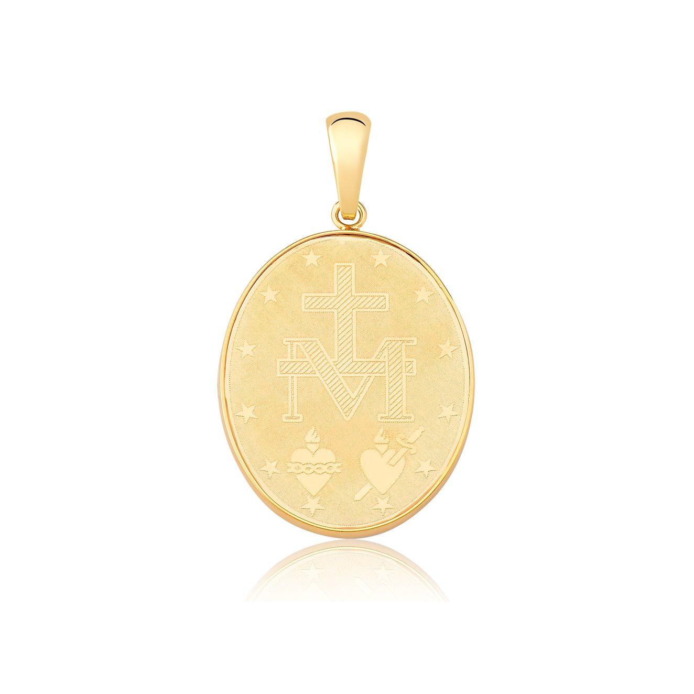 Pingente de ouro 18k medalha Nossa Senhora Aparecida frente e verso