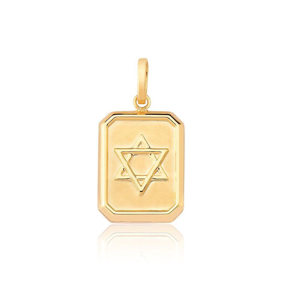 Pingente de ouro 18k placa estrela de Davi