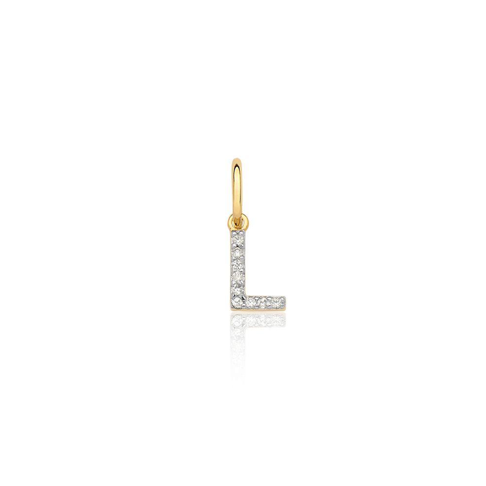 Pingente de ouro 18k letra L diamantes