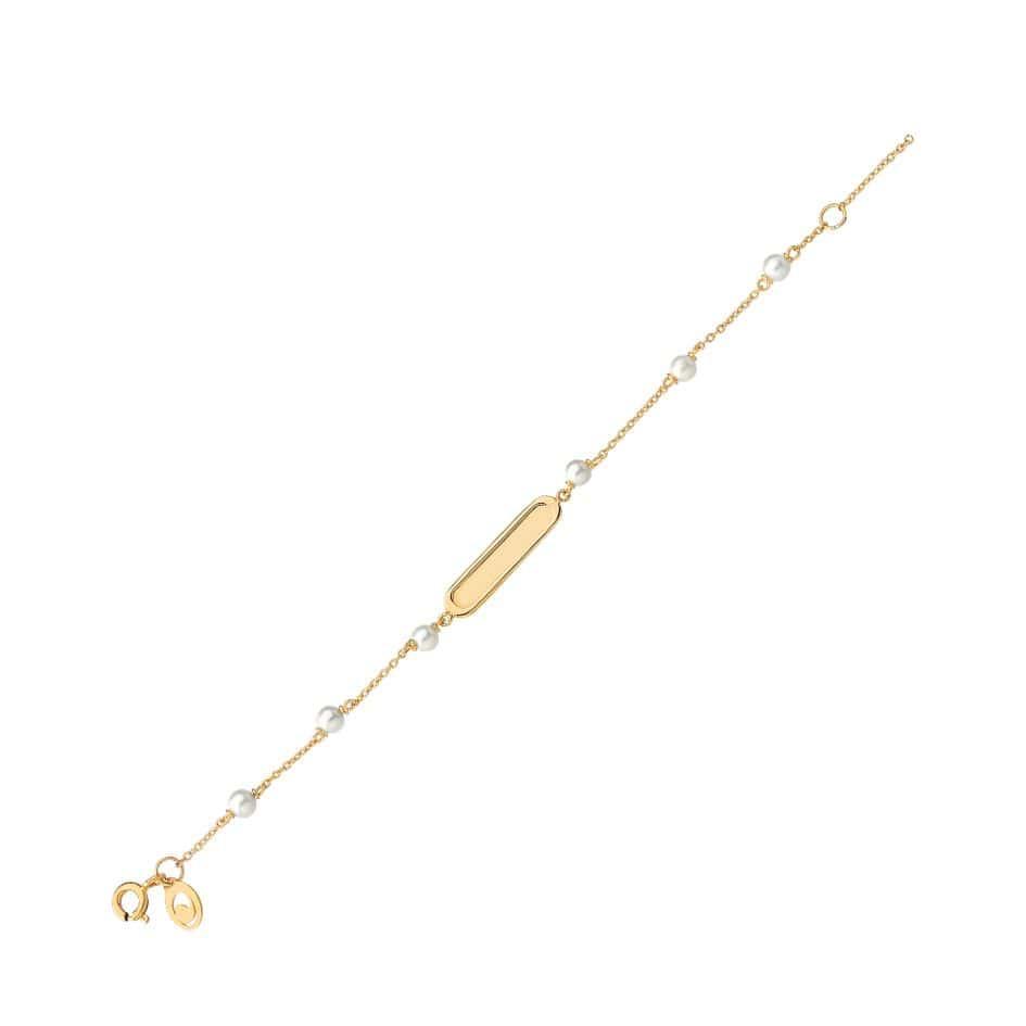 Pulseira de ouro 18k infantil placa oval com pérolas