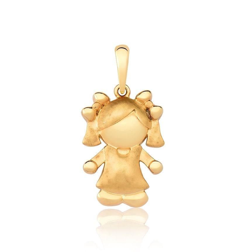Pingente de ouro 18k menina efeito acetinado