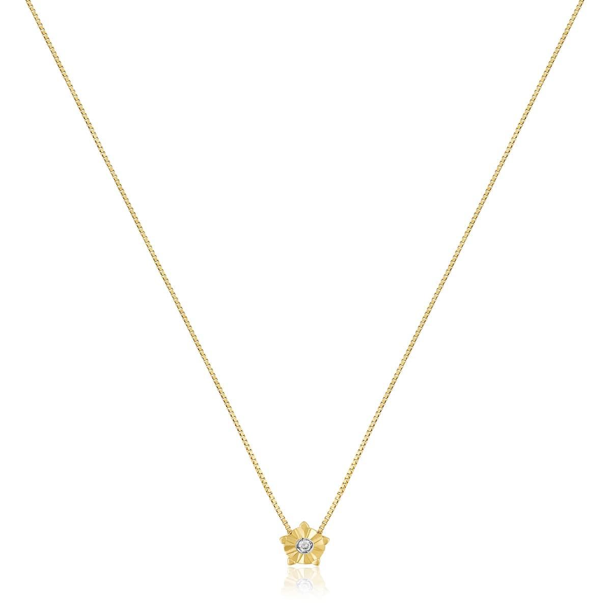 Gargantilha de ouro 18k ponto de luz diamante