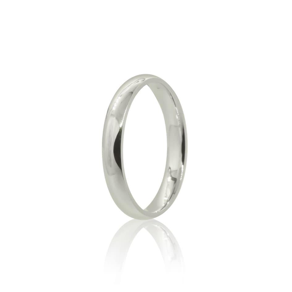 Aliança prata 925 anatômica polida lisa 3mm