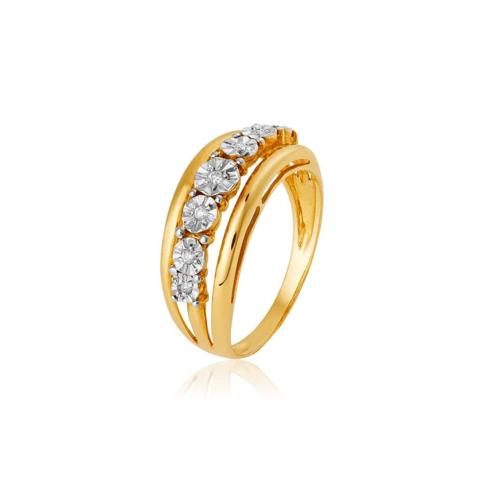Anel de ouro 18k diamantes 0,18ct