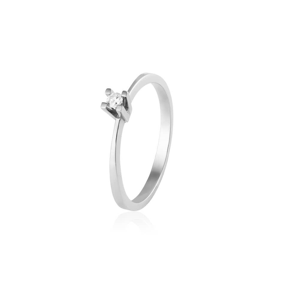 Anel solitário ouro branco diamante 0,058ct