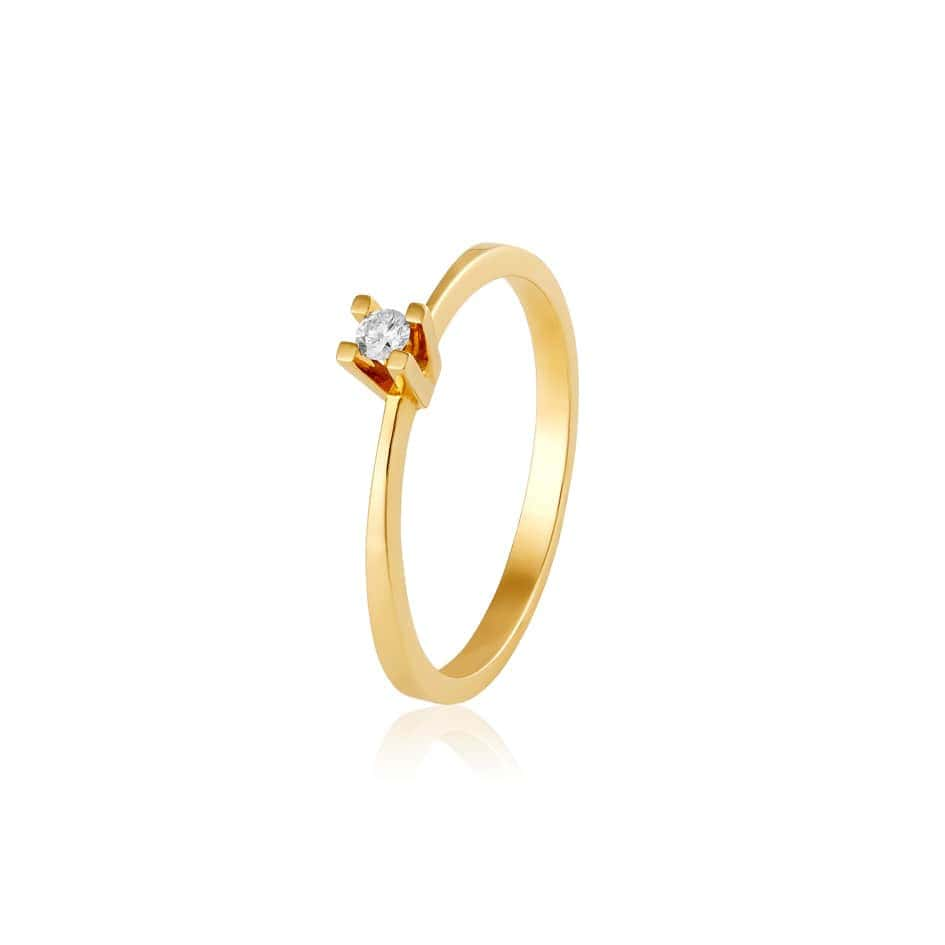 Anel solitário de ouro 18k brilhantes 5p
