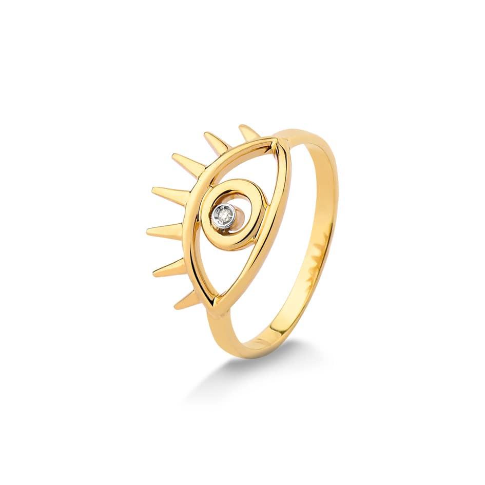 Anel de ouro 18k olho grego