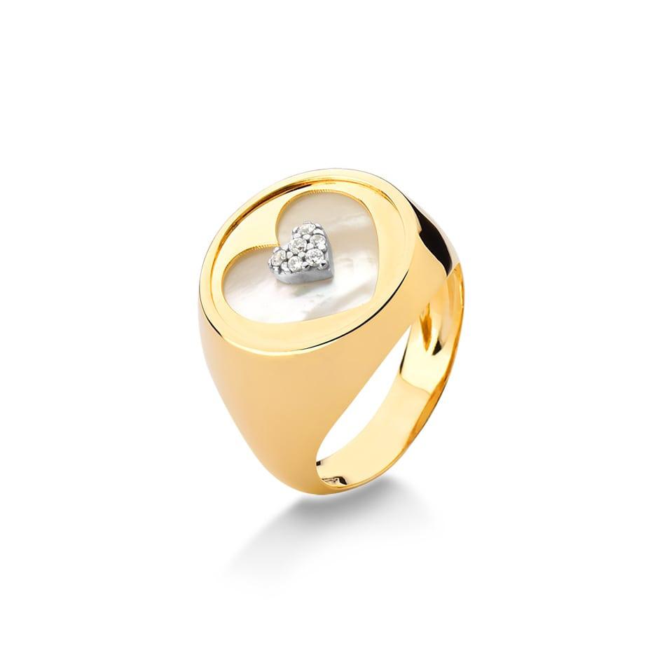 Anel de ouro 18k coração madre pérola com brilhantes