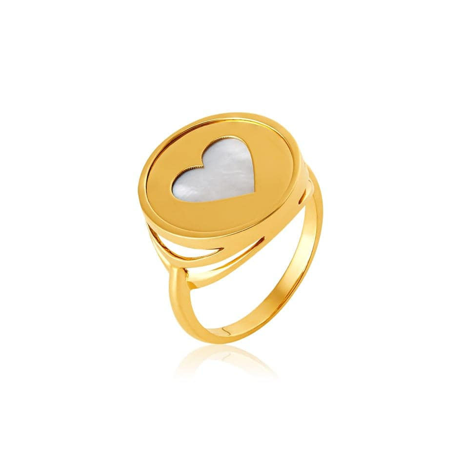 Anel de ouro 18k recorte coração com madre pérola
