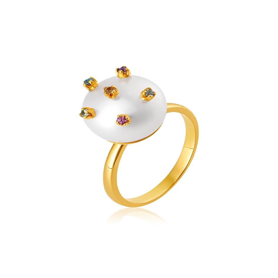 Anel de ouro 18k pérola com pedras coloridas