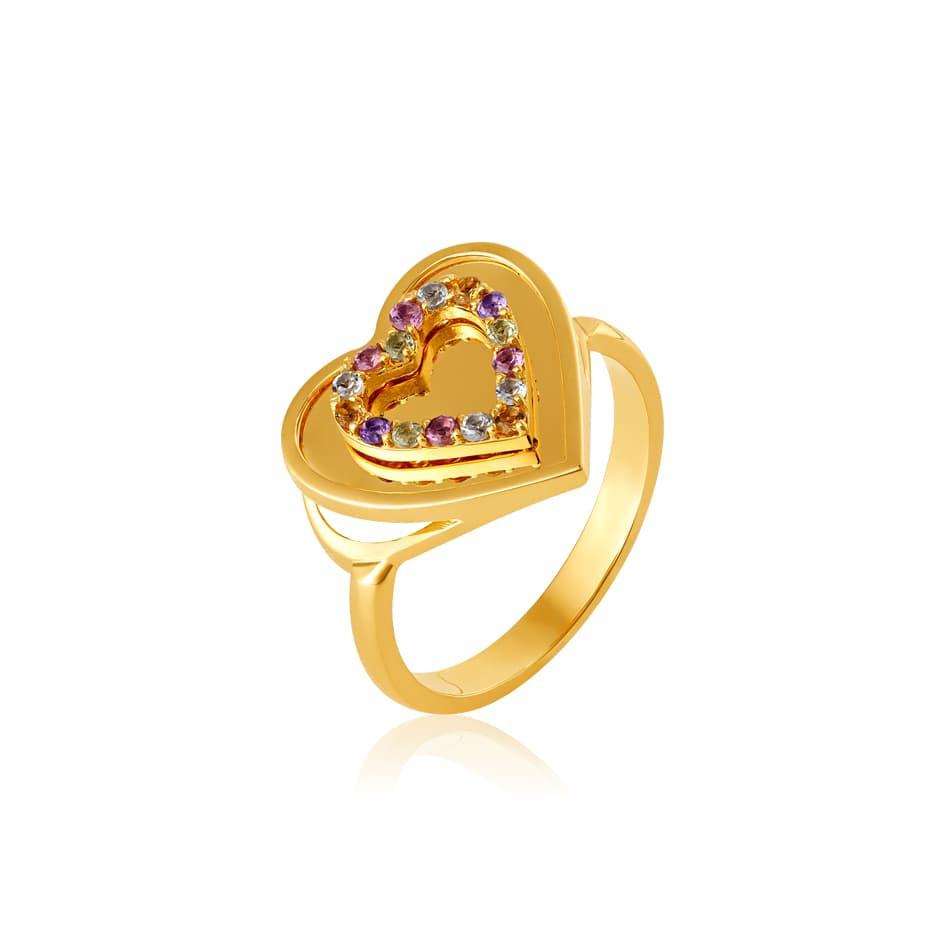 Anel de ouro 18k coração com pedras coloridas