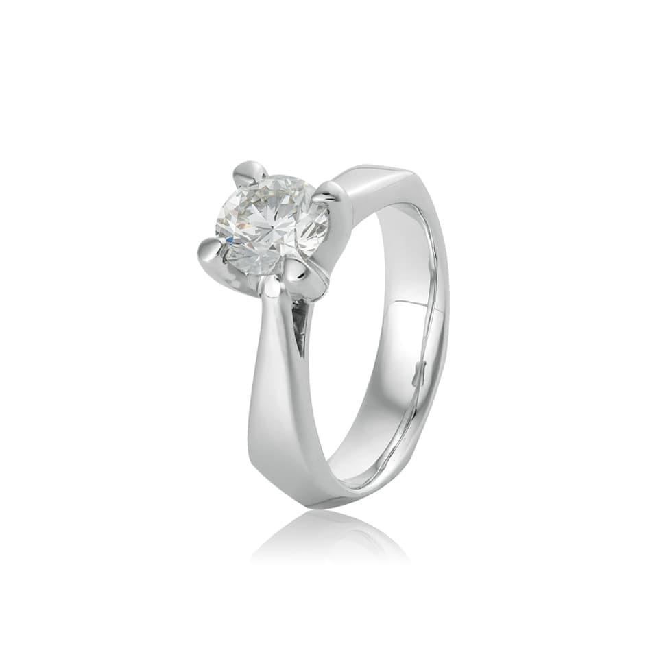 Anel solitário de ouro branco diamante 1,13ct