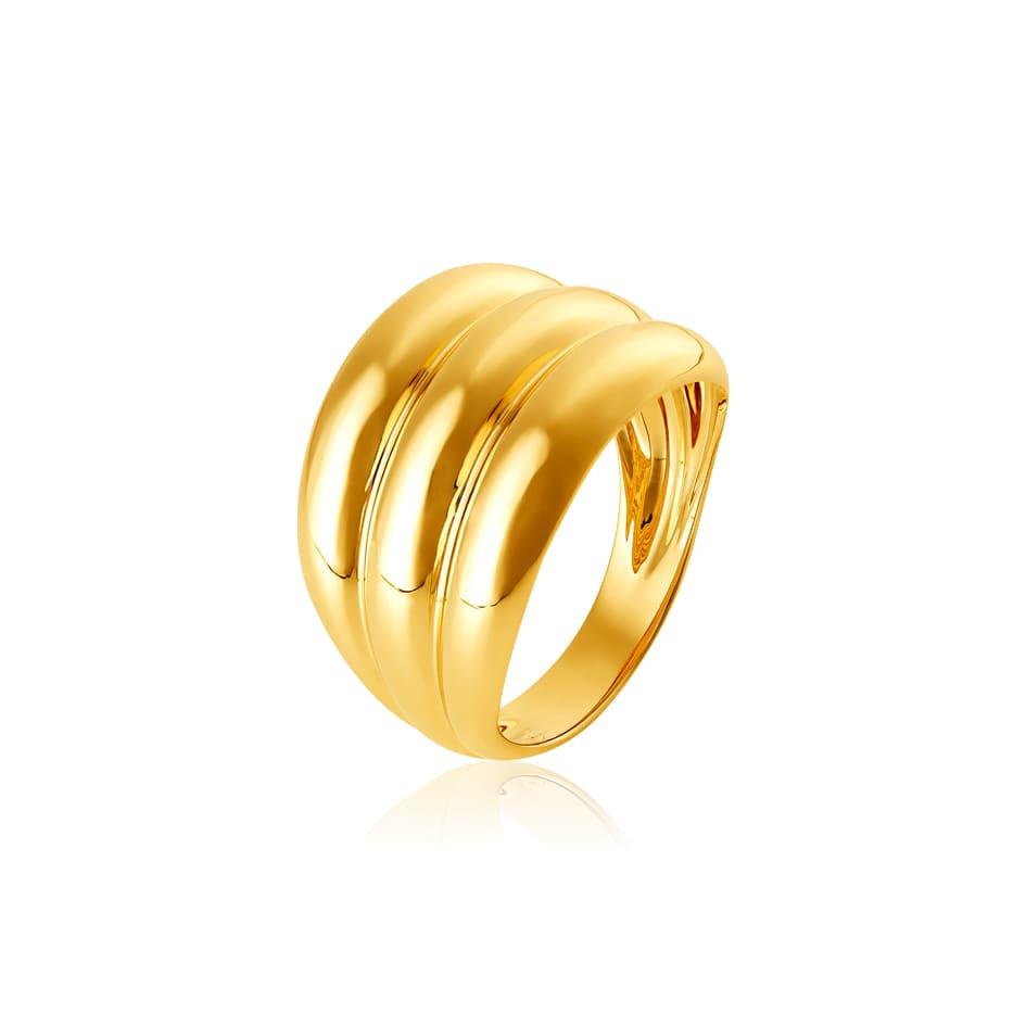 Anel de ouro 18k bordas arredondadas